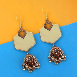 Tip Top Fashions  Antique Gold Plated  Mirror Jhumki Earrings - 1314953B