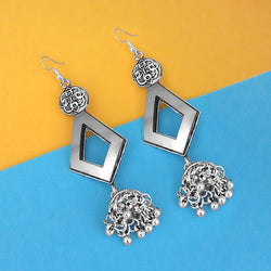 Tip Top Fashions Oxidised Plated Mirror Jhumki Earrings - 1314954A