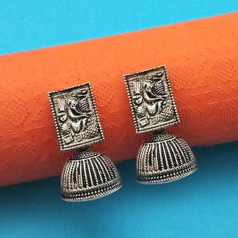 Jeweljunk Oxidised Plated Jhumki Earrings - 1315007