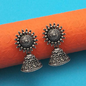 Jeweljunk Oxidised Plated Jhumki Earrings - 1315010