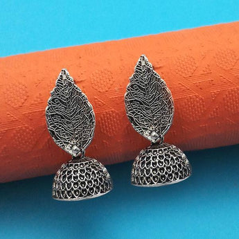 Jeweljunk Oxidised Plated Leaf Jhumki Earrings - 1315013