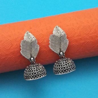 Jeweljunk Oxidised Plated Leaf Jhumki Earrings - 1315014