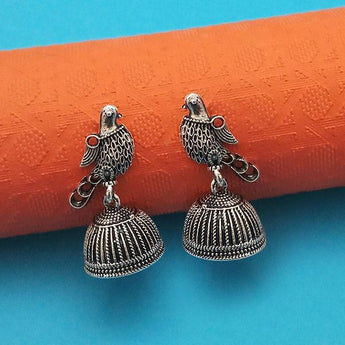 Jeweljunk Oxidised Plated Jhumki Earrings - 1315018