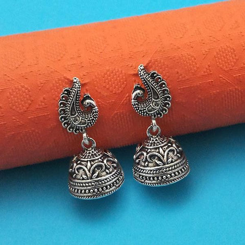 Tip Top Fashions Oxidised Plated Peacock Jhumki Earrings - 1315019