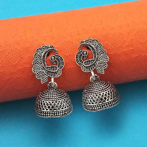 Tip Top Fashions Oxidised Plated Peacock Jhumki Earrings - 1315020
