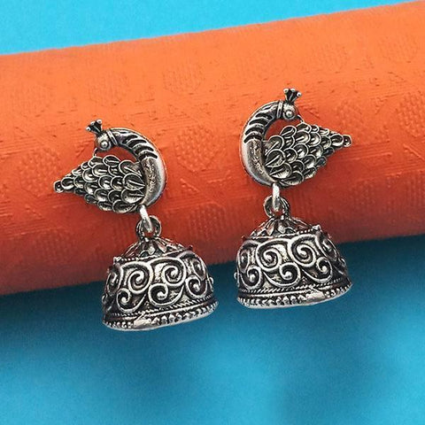 Tip Top Fashions Oxidised Plated Peacock Jhumki Earrings - 1315021