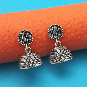 Jeweljunk Oxidised Plated Jhumki Earrings - 1315023
