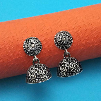 Jeweljunk Oxidised Plated Jhumki Earrings - 1315025