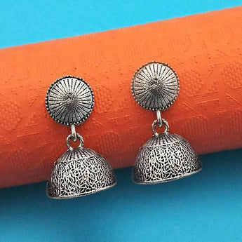 Jeweljunk Oxidised Plated Jhumki Earrings - 1315026