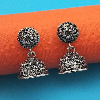 Jeweljunk Oxidised Plated Jhumki Earrings - 1315027