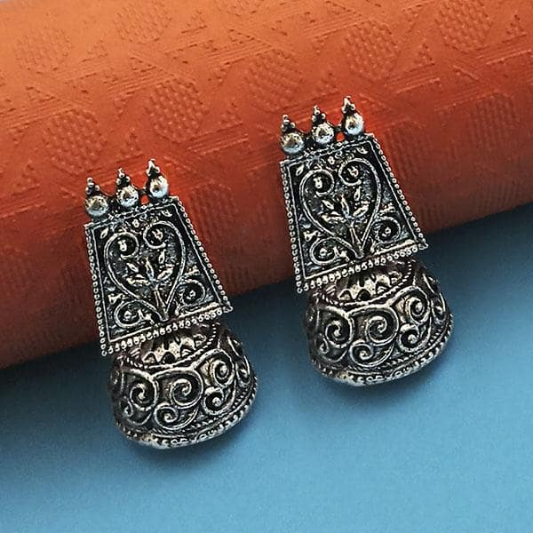Jeweljunk Oxidised Plated Jhumki Earrings - 1315029