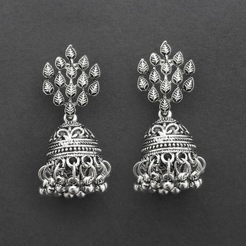 Jeweljunk Oxidised Plated Jhumki Earrings  -1315030