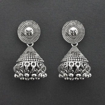 Jeweljunk Oxidised Plated Jhumki Earrings  -1315035