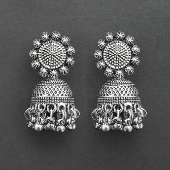 Jeweljunk Oxidised Plated Jhumki Earrings  -1315037