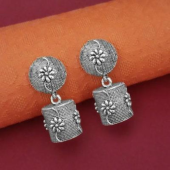 Tip Top Fashions Oxidised Plated Floral Jhumki Earrings - 1315046