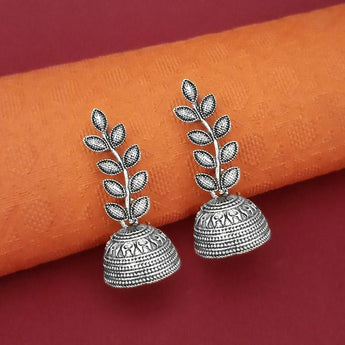 Tip Top Fashions Oxidised Plated Leaf Design Jhumki Earrings - 1315054