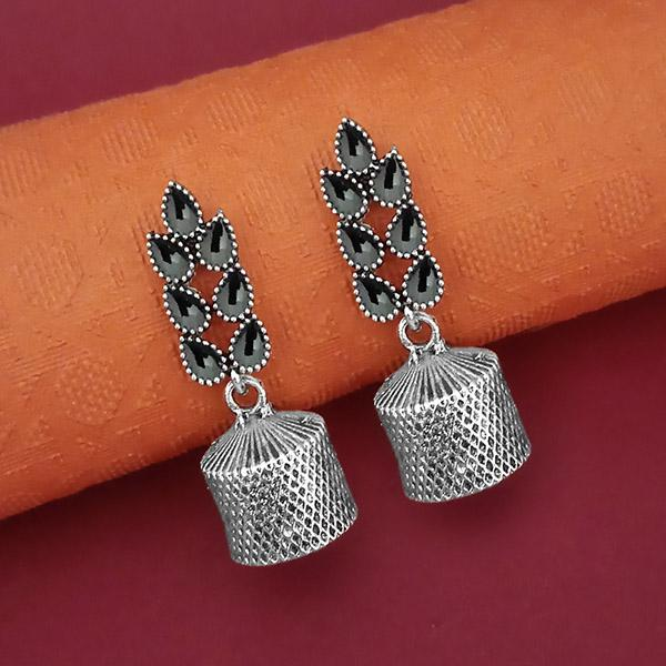 Tip Top Fashions Oxidised Plated Leaf Design Jhumki Earrings - 1315055