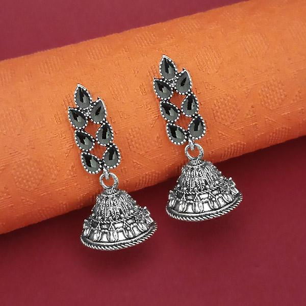 Tip Top Fashions Oxidised Plated Leaf Design Jhumki Earrings - 1315057