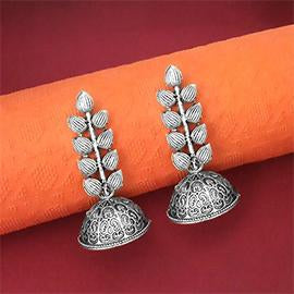 Jeweljunk Oxidised Plated Jhumki Earrings - 1315058