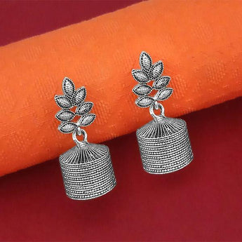 Jeweljunk Oxidised Plated Jhumki Earrings - 1315066