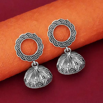 Jeweljunk Oxidised Plated Jhumki Earrings - 1315067
