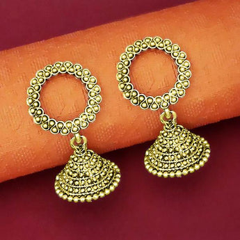 Jeweljunk Antique Gold Plated Jhumki Earrings - 1315068A