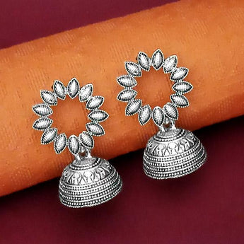 Tip Top Fashions Oxidised Plated Jhumki Earrings - 1315069