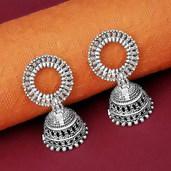 Tip Top Fashions Oxidised Plated Jhumki Earrings - 1315071
