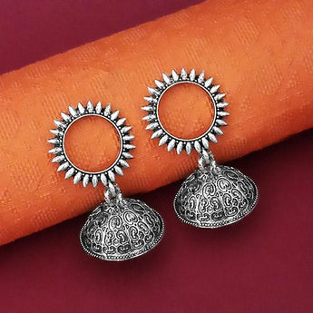 Tip Top Fashions Oxidised Plated Jhumki Earrings - 1315072