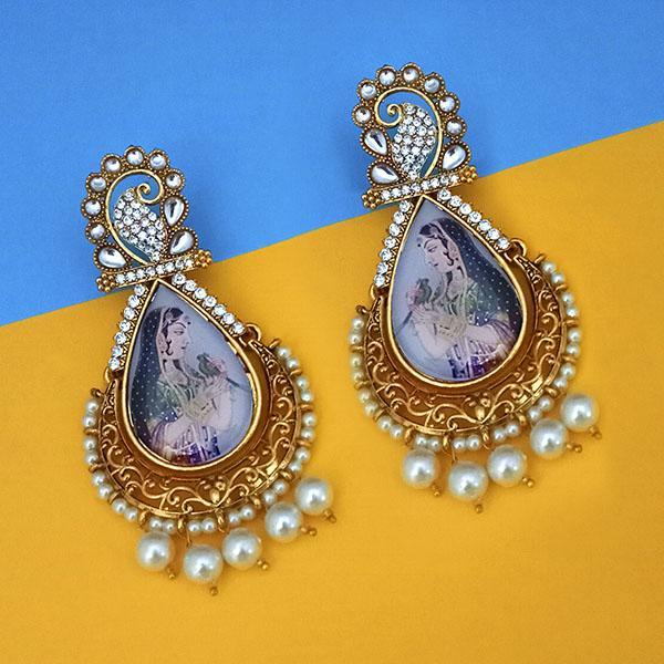 kriaa Kundan Stone Padmavati Inspired Gold Plated Dangler Earrings - 1315117