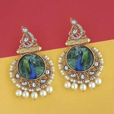 Kriaa Pearl Gold Plated Kundan Peacock Design Dangler Earrings - 1315121