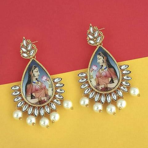 Kriaa Padmavati Inspired Gold Plated Dangler Earrings - 1315128