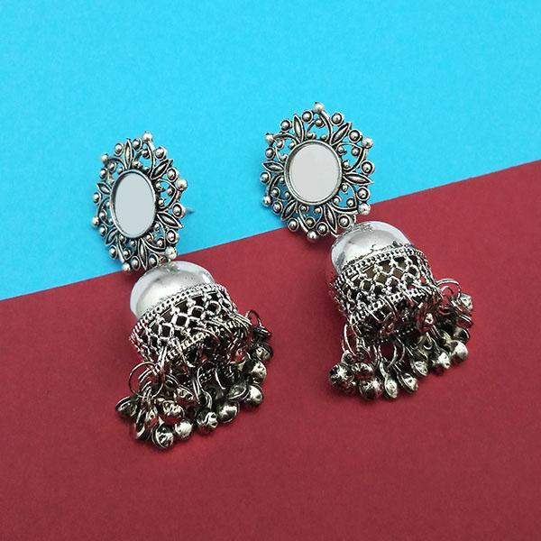 Jeweljunk Silver Plated Mirror Jhumki Earrings -1315307