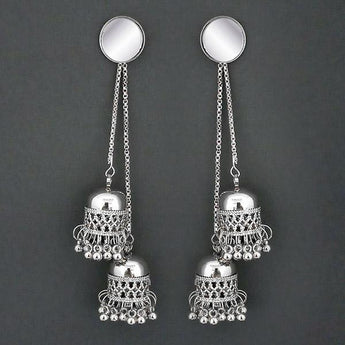 Tip Top Fashions Silver Plated Kashmiri Jhumka Earrings  - 1315325