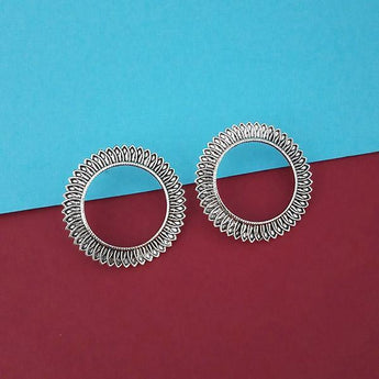 Jeweljunk Oxidised Plated Round Stud Earrings  - 1315330