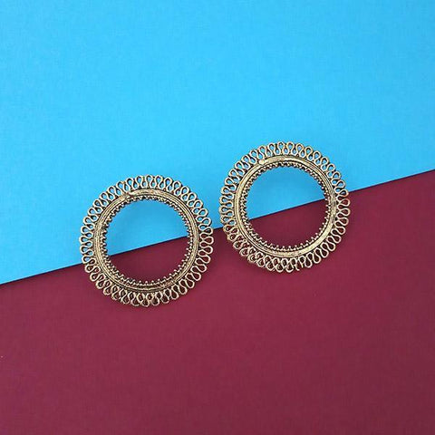 Tip Top Fashions Gold Plated Round Stud Earrings  - 1315331