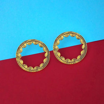 Tip Top Fashions Antique Gold Plated Round Stud Earrings - 1315338A
