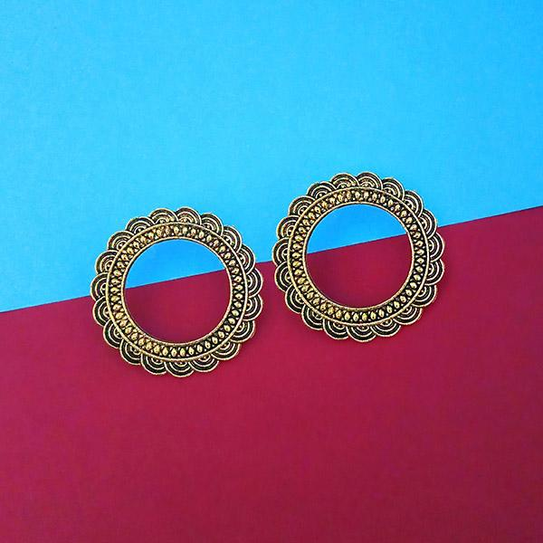 Tip Top Fashions Antique Gold Plated Round Stud Earrings - 1315339A