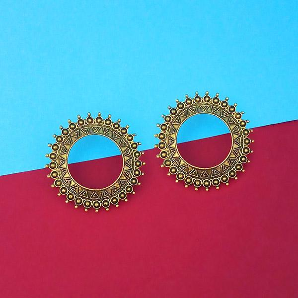 Jeweljunk Antique Gold Plated Round Stud Earrings - 1315346A