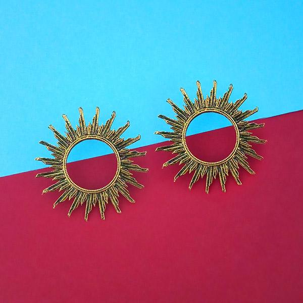 Jeweljunk Antique Gold Plated Round Stud Earrings - 1315347A