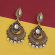 Kriaa Gold Plated Austrian Stone Meenakari Earrings - 1315501