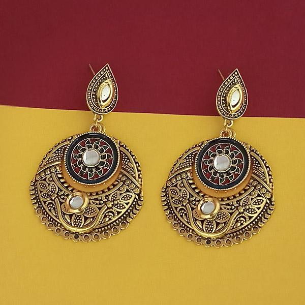 Kriaa Gold Plated Kundan Stone Meenakari Earrings - 1315502