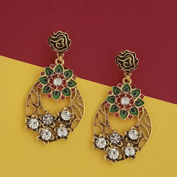Kriaa Gold Plated Austrian Stone Green Meenakari Earrings - 1315506