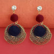 Kriaa Gold Plated Austrian Stone Pom Pom Dangler Earrings - 1315511A