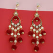 Kriaa Austrian Stone And Maroon Pom Pom Dangler Earrings - 1315512A