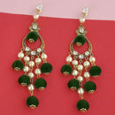 Kriaa Austrian Stone And Green Pom Pom Dangler Earrings - 1315512B