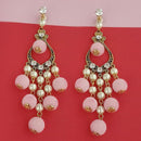 Kriaa Austrian Stone And Pink Pom Pom Dangler Earrings - 1315512C