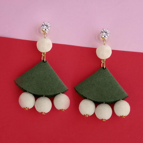 Kriaa Austrian Stone And White Pom Pom Dangler Earrings - 1315513F