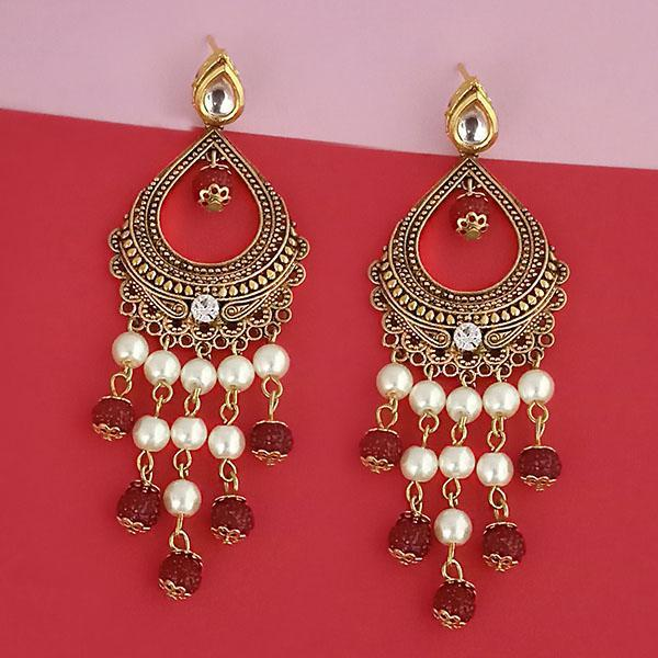 Kriaa Austrian Stone And Pearl Dangler Earrings - 1315514A