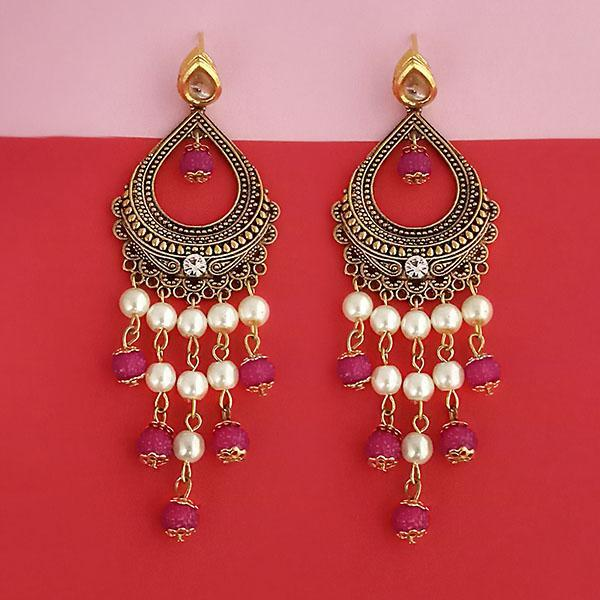 Kriaa Austrian Stone And Pearl Pink Beads Dangler Earrings - 1315514E